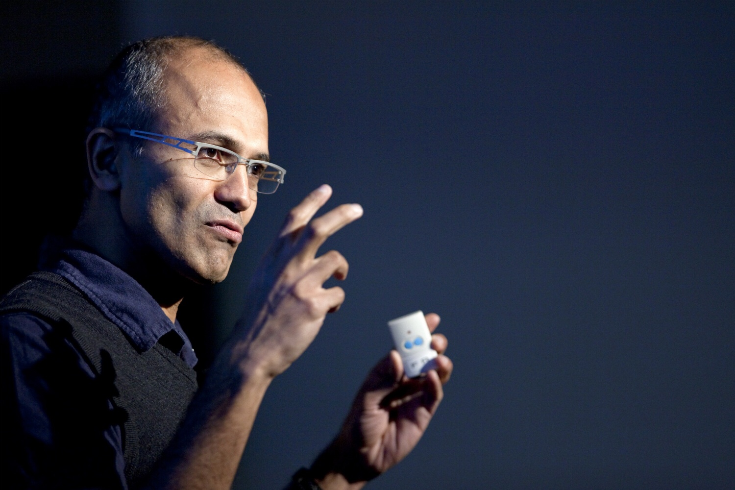 Microsoft's Satya Nadella presents at an event featuring the company's Bing search engine on Dec. 15, 2010.