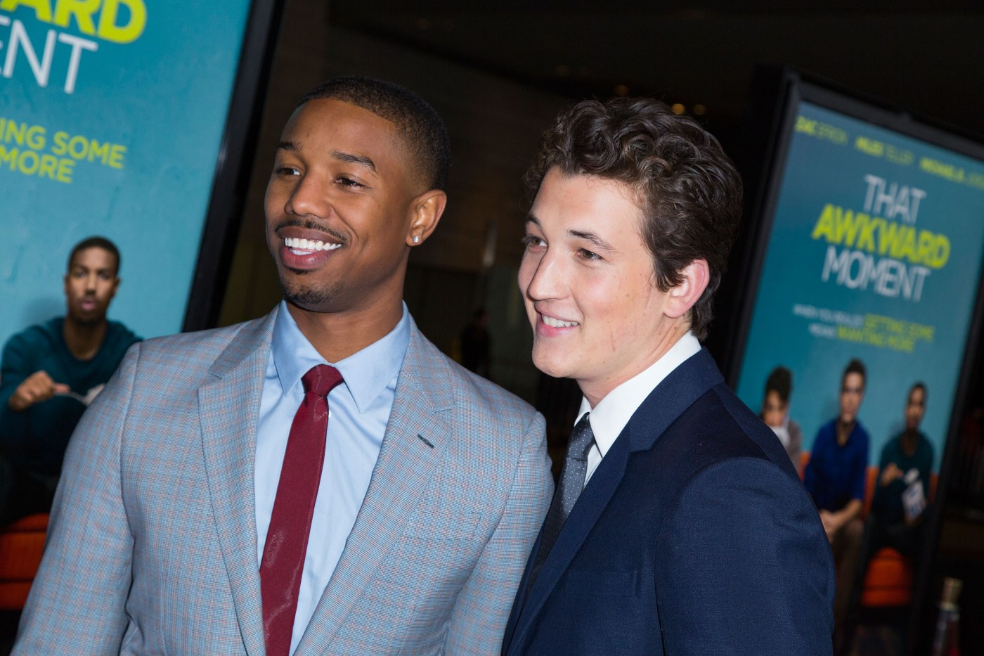 Actors Michael B. Jordan and Miles Teller attend the Los Angeles Premiere of  That Awkward Moment  on January 27, 2014 in Los Angeles.