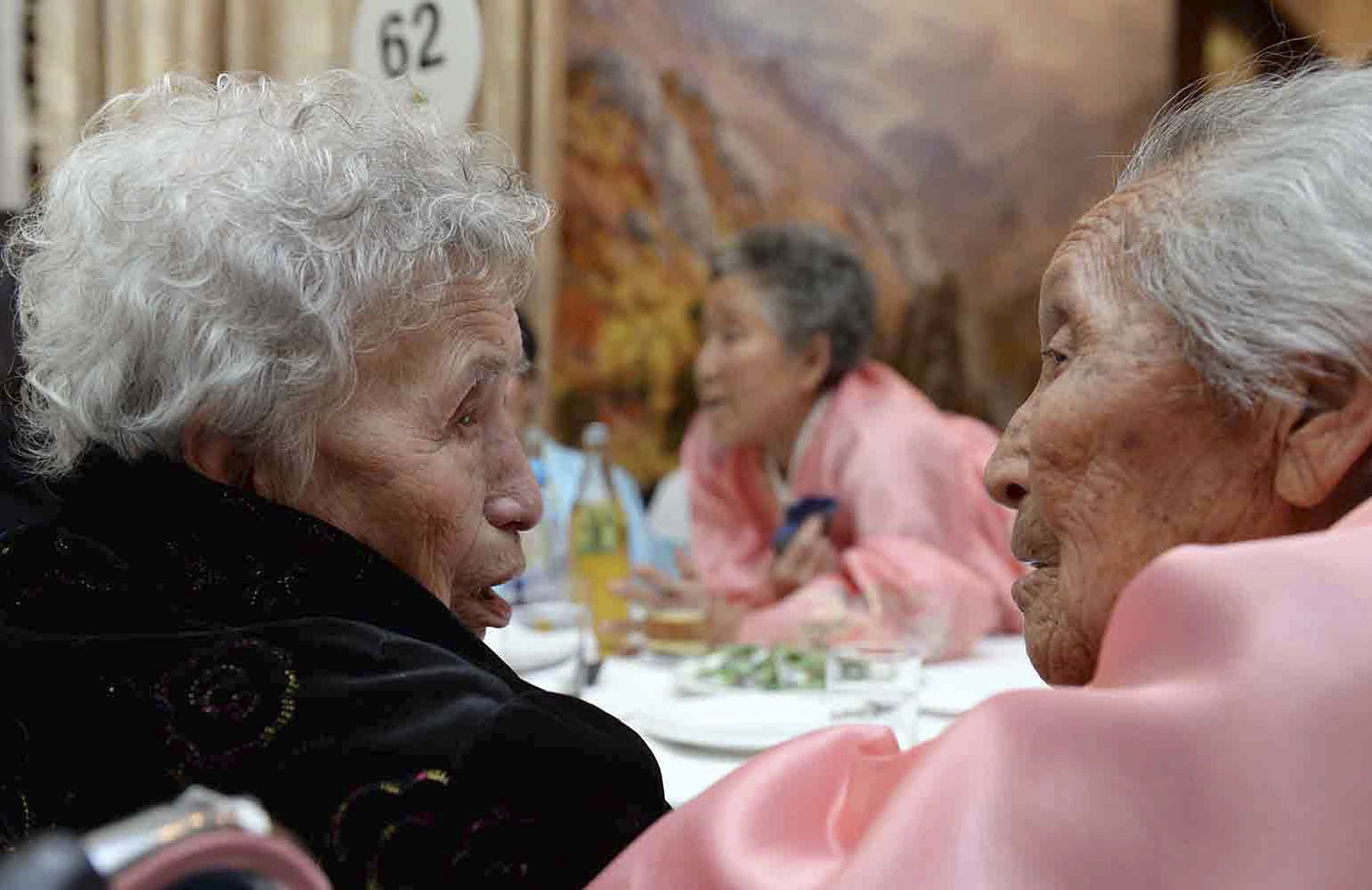 South Korean Lee Young-Shil, 88, meets with her North Korean younger sister Kim Seok-Ryu, 80, during the Separated Family Reunion Meeting at Diamond Mountain resort in North Korea on Feb. 20, 2014.