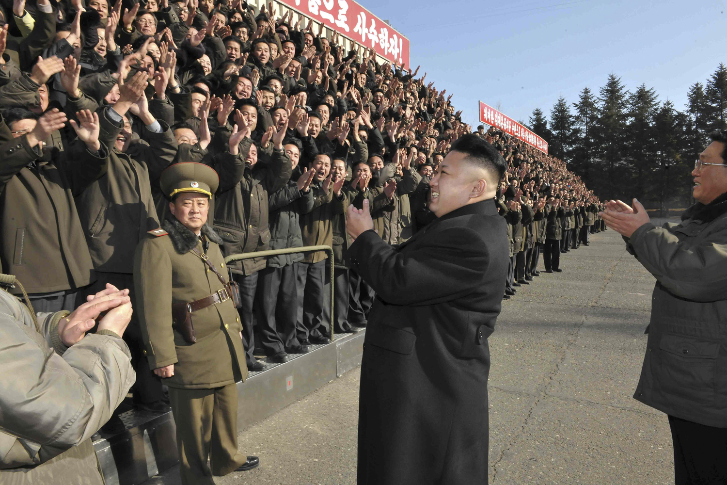 North Korean leader Kim Jong Un gives field guidance to the State Academy of Sciences in this undated photo released by North Korea's Korean Central News Agency in Pyongyang on Jan. 15, 2014