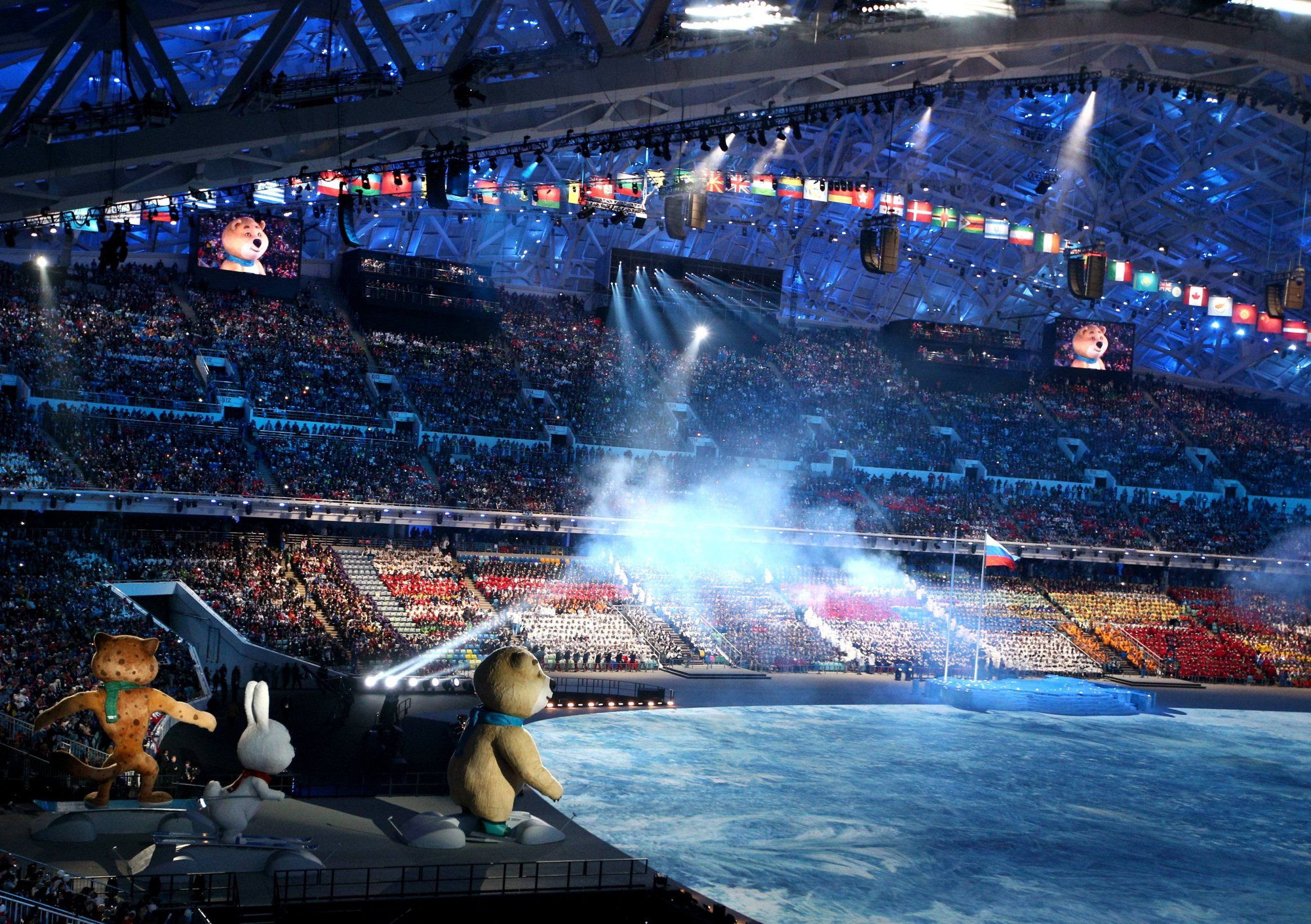 Sochi 2014 mascots prepare to come on stage during the opening ceremony.