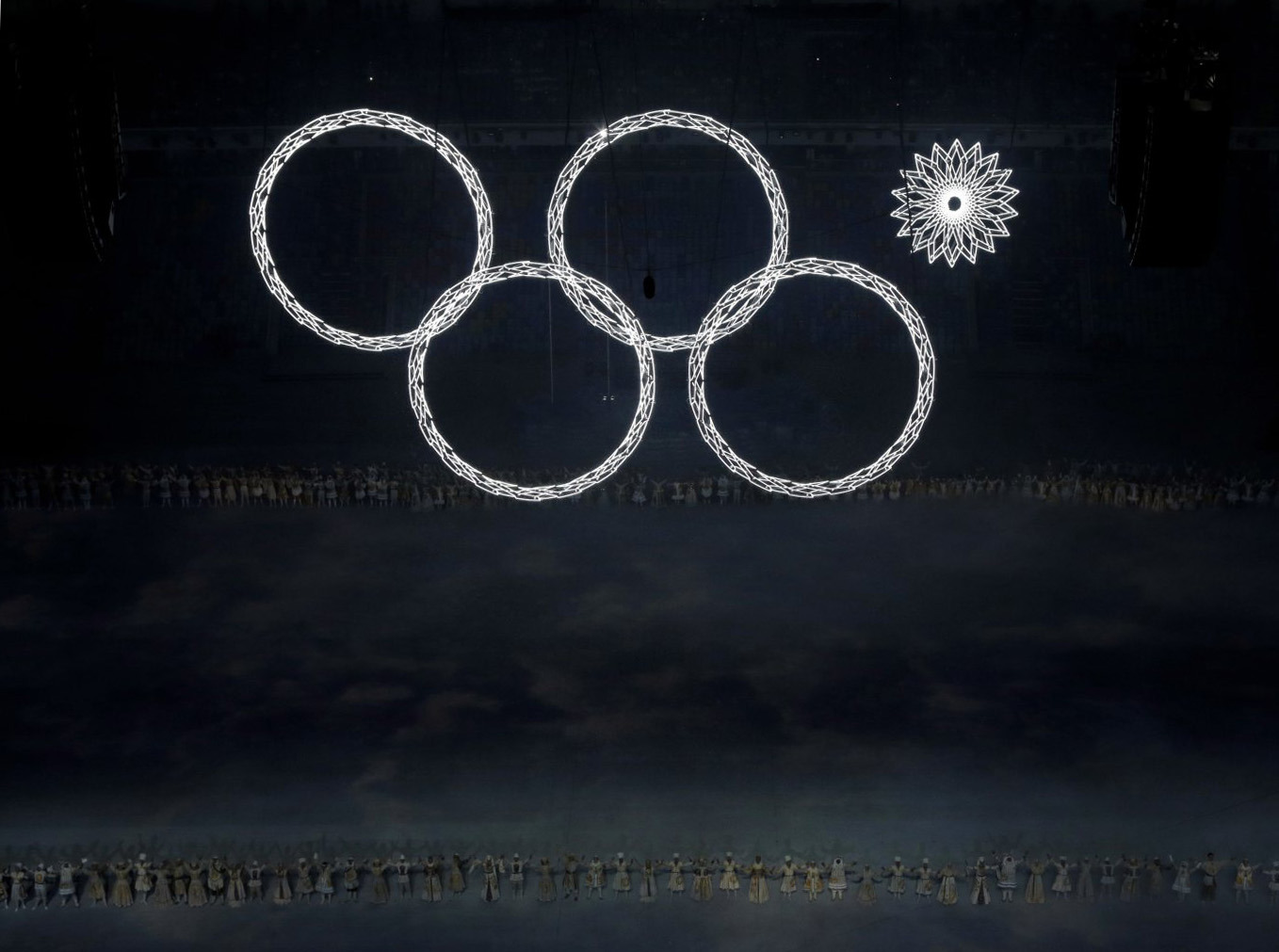 One of the Olympic rings fails to open during the opening ceremony.