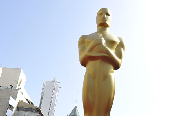 The iconic Oscar statue stands above the red carpet on the eve of the 84th annual Academy Awards in Hollywood, California, on February 25, 2012.