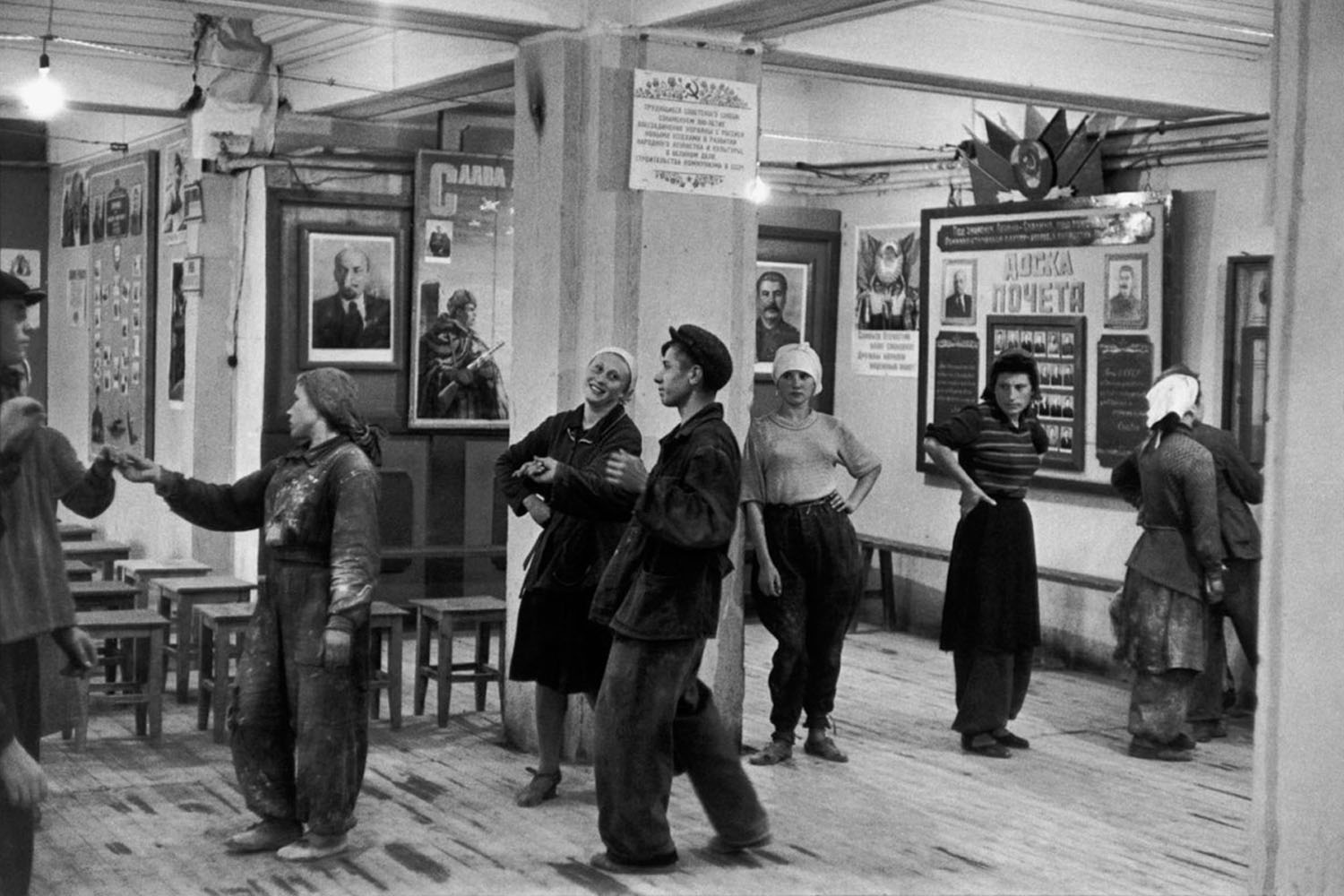 The canteen for workers building the Hotel Metropol, Moscow, 1954.