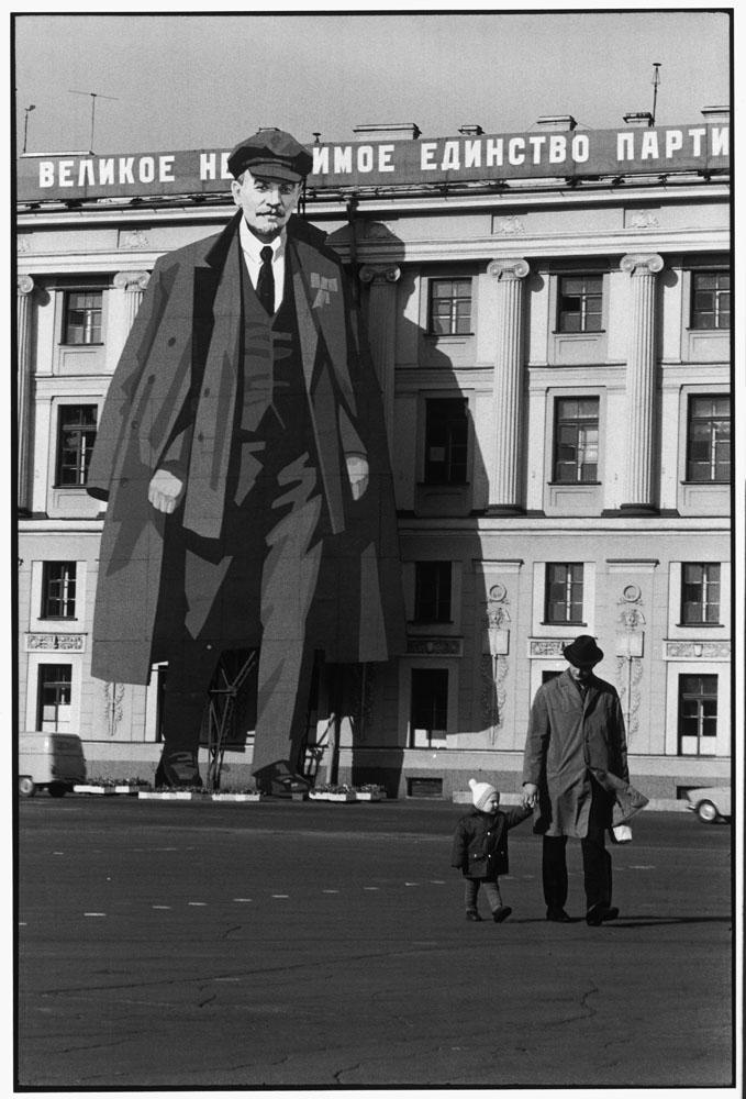 A portrait of Lenin decorates a facade of the Winter Palace, Leningrad, 1973.