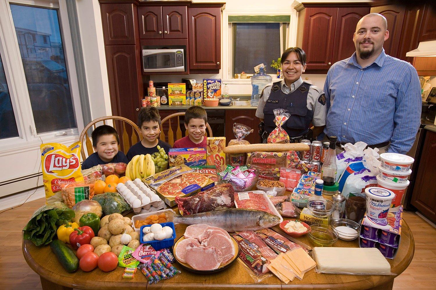 Canada: The Melansons of Iqaluit, Nunavut Territory - Food expenditure for one week: US$345. Favorite Foods: narwhal, polar bear, extra cheese stuffed crust pizza, watermelon.