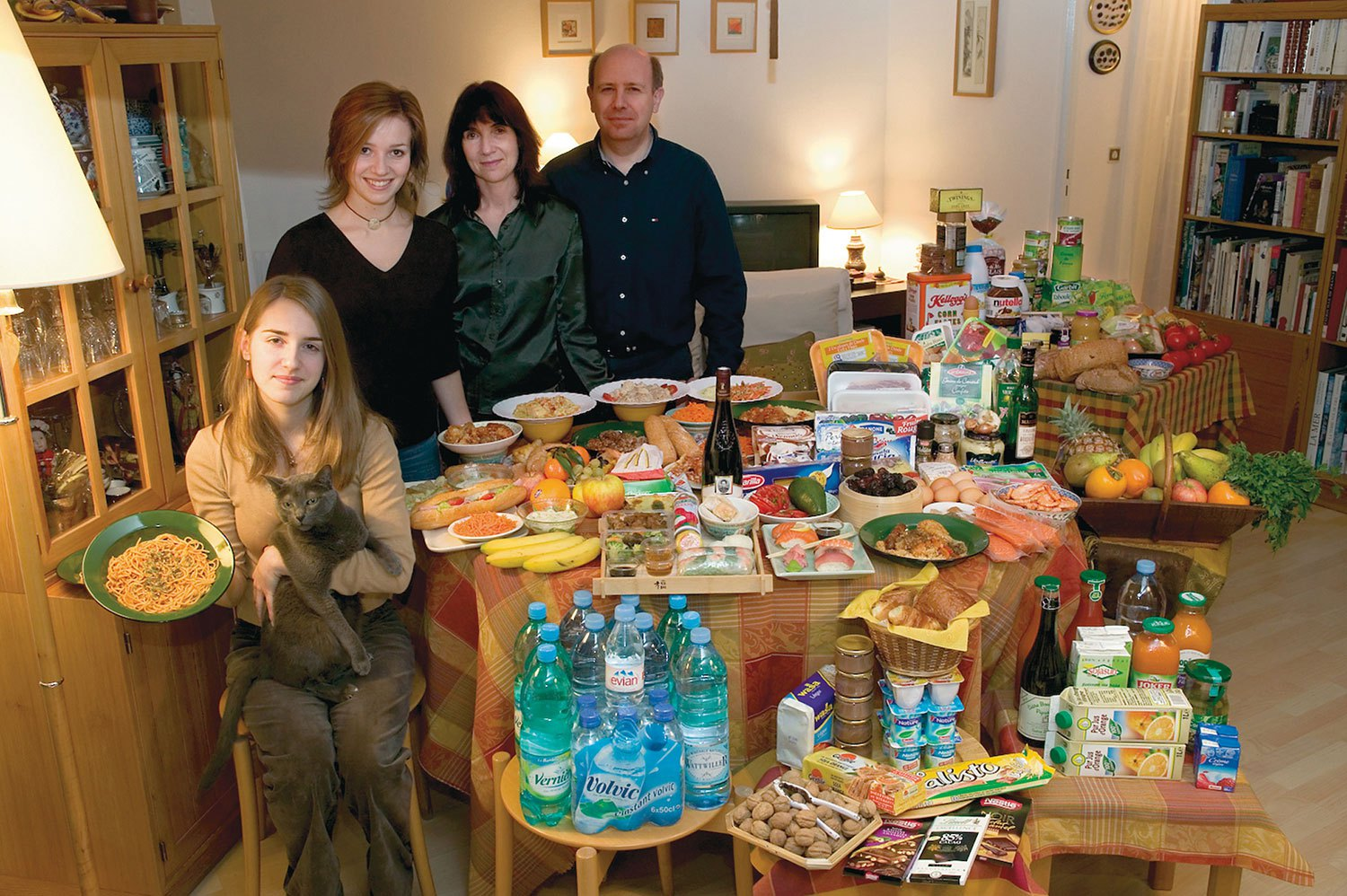 France: The Le Moines of Montreuil - Food expenditure for one week: 315.17 euros or $419.95. Favorite Foods: Delphine Le Moine's Apricot Tarts, pasta carbonara, Thai food.