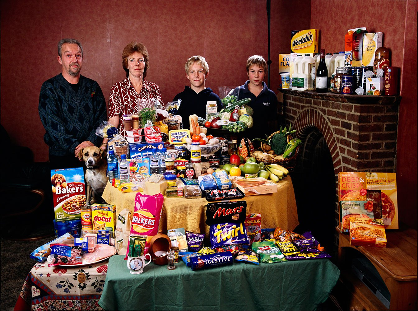 Great Britain: The Bainton family of Cllingbourne Ducis.                                                              Food expenditure for one week: 155.54 British Pounds or $253.15.                               Favorite foods: avocado, mayonnaise sandwich, prawn cocktail, chocolate fudge cake with cream.