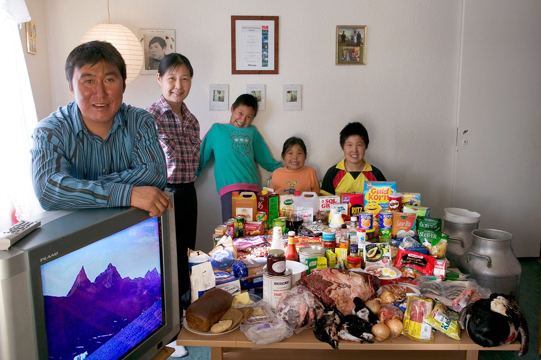 Greenland: The Madsens of Cap Hope - Food expenditure for one week: 1,928.80 Danish krone or $277.12.                               Favorite Foods: polar bear, narwhal skin, seal stew.
