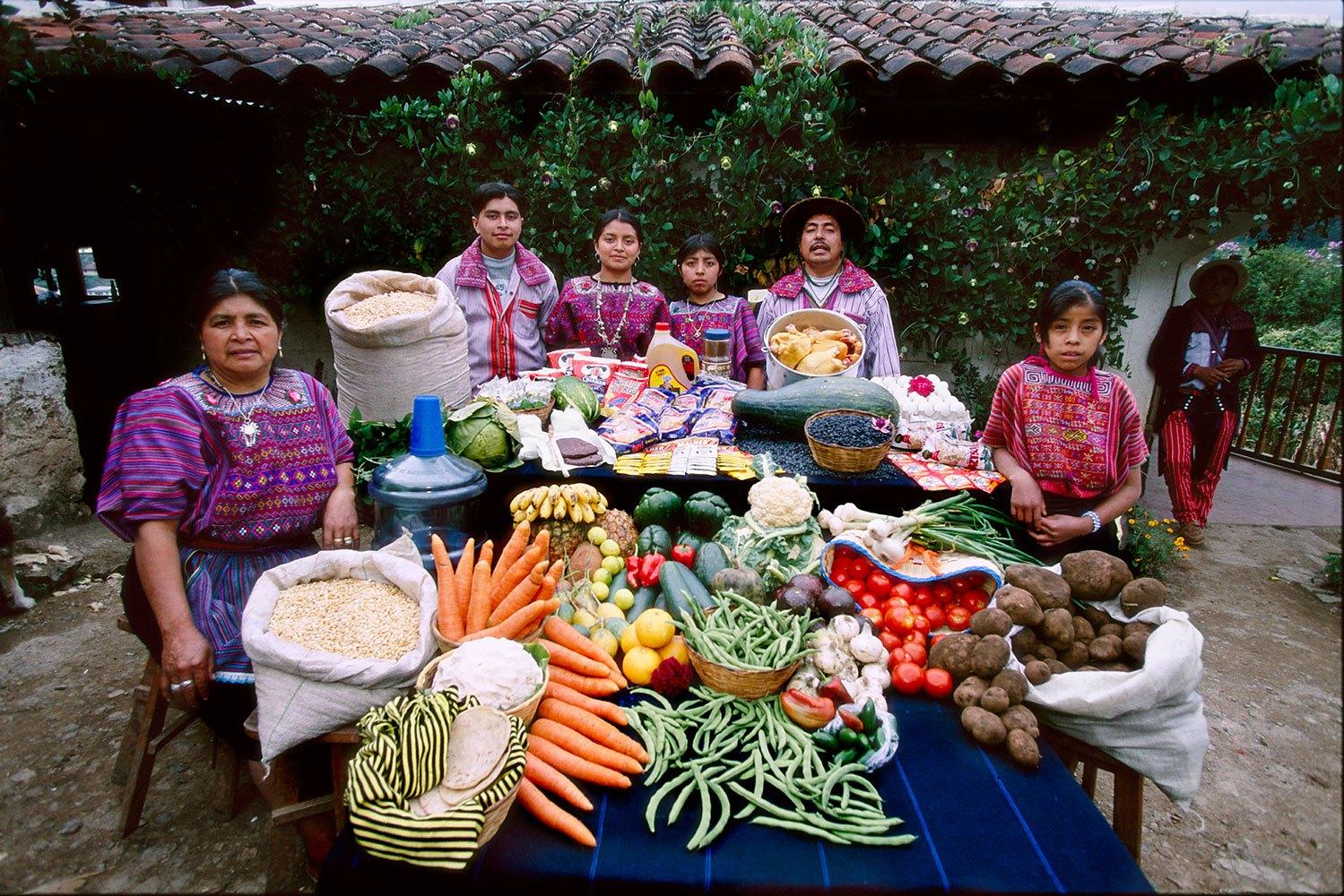 Guatemala: The Mendozas of Todos Santos - Food expenditure for one week: 573 Quetzales or $75.70. Family Recipe: Turkey Stew and Susana Perez Matias's Sheep Soup.