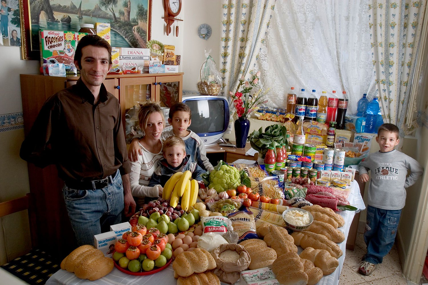 Italy: The Manzo family of Sicily.                                                              Food expenditure for one week: 214.36 Euros or $260.11.                               Favorite foods: fish, pasta with ragu, hot dogs, frozen fish sticks.
