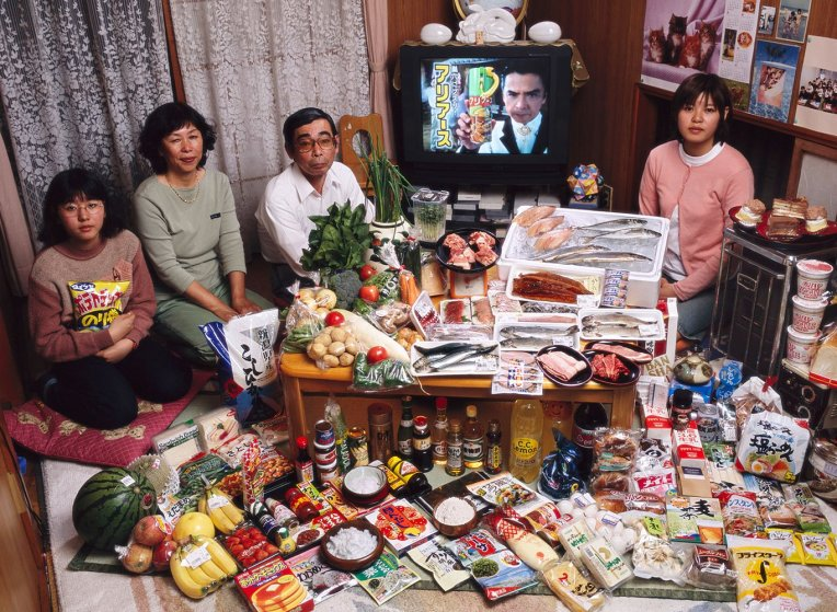 Japan: The Ukita family of Kodaira City. Food expenditure for one week: 37,699 Yen or $317.25. Favorite foods: sashimi, fruit, cake, potato chips.