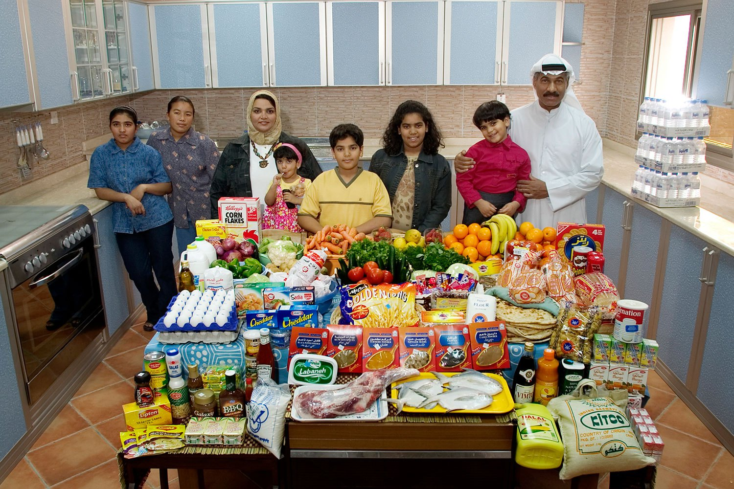 Kuwait: The Al Haggan family of Kuwait City.                                                              Food expenditure for one week: 63.63 dinar or $221.45. Family recipe: Chicken biryani with basmati rice.