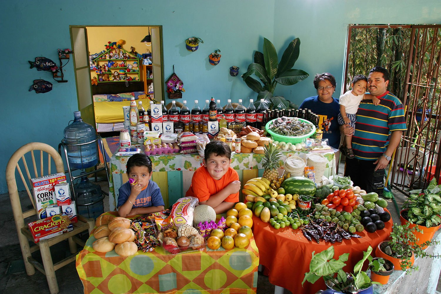 Mexico: The Casales family of Cuernavaca.                                                              Food expenditure for one week: 1,862.78 Mexican Pesos or $189.09.                               Favorite foods: pizza, crab, pasta, chicken.