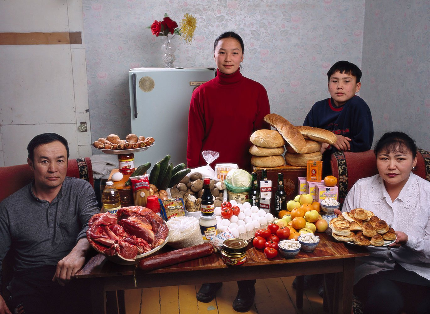Mongolia: The Batsuuri family of Ulaanbaatar.                                                              Food expenditure for one week: 41,985.85 togrogs or $40.02.                               Family recipe: Mutton dumplings.
