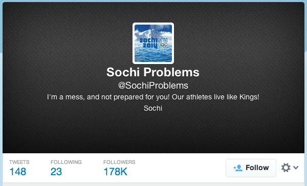 A Twitter account joking about the problems in Sochi is gaining sudden popularity