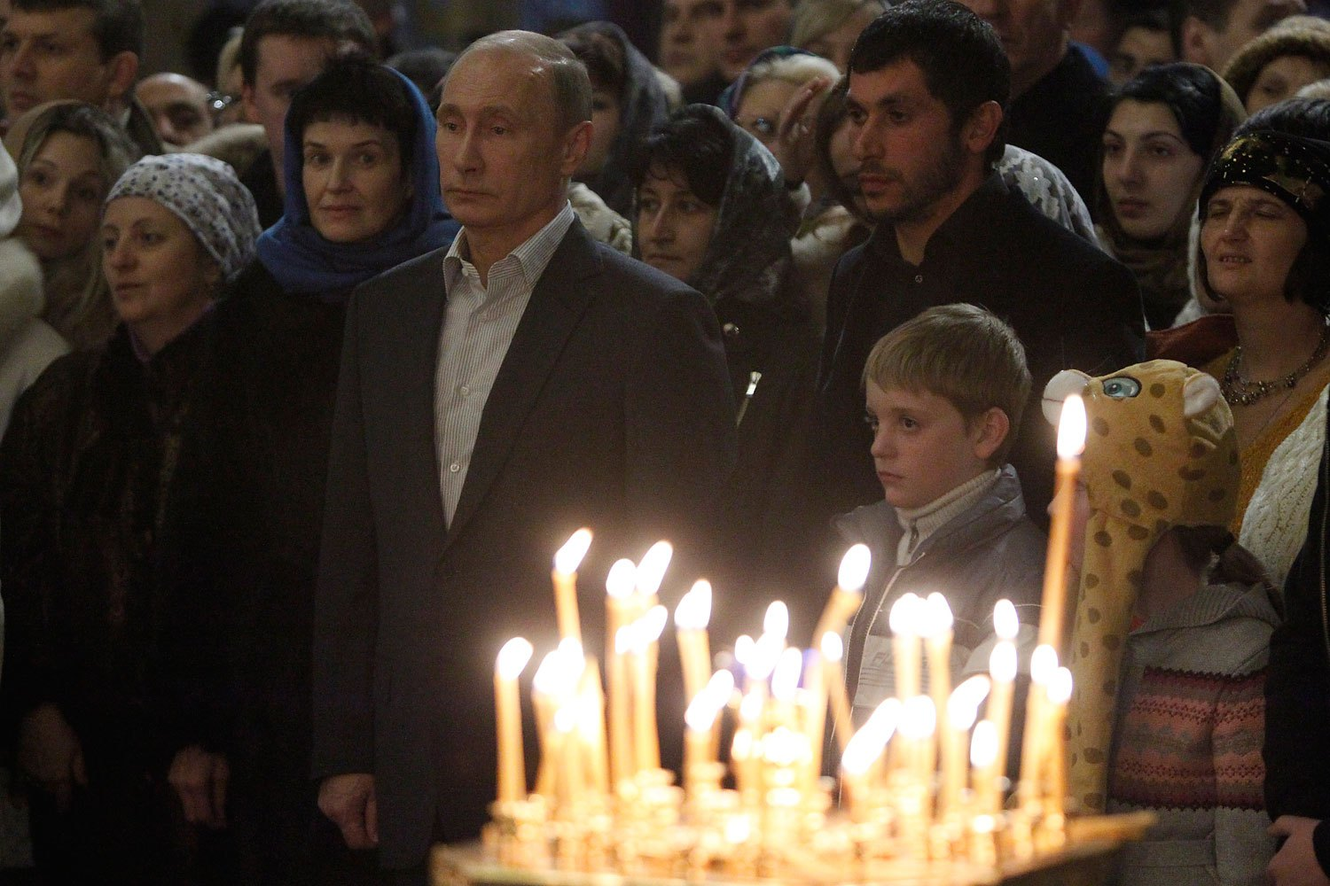 Russia's President Vladimir Putin attends the Orthodox Christmas service at the Cathedral of the Holy Face of Christ the Savior in the Russian city of Sochi on Jan. 7, 2014.