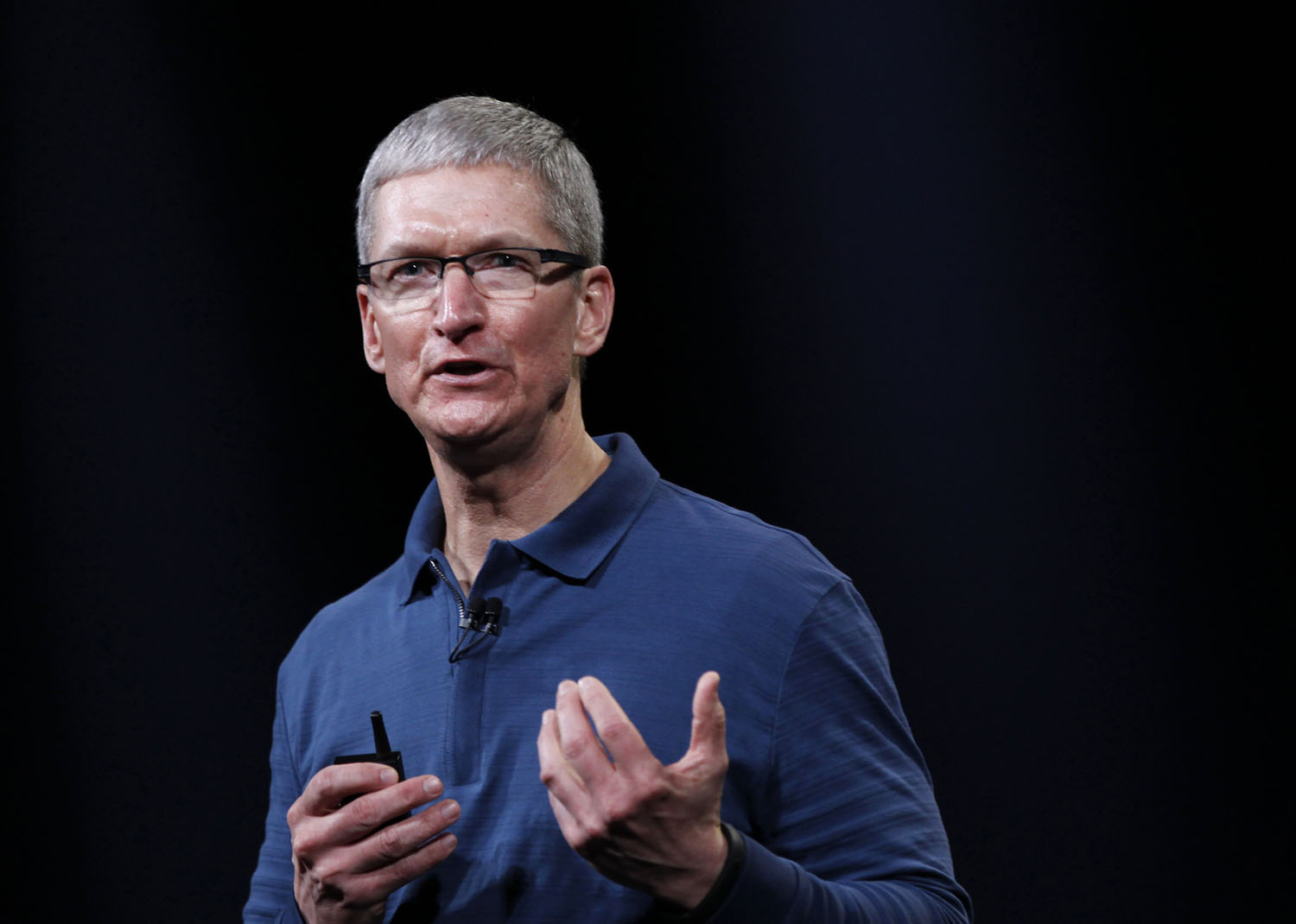 Apple CEO Tim Cook speaks to the audience during an Apple event in San Jose, Calif., on Oct. 23, 2012.