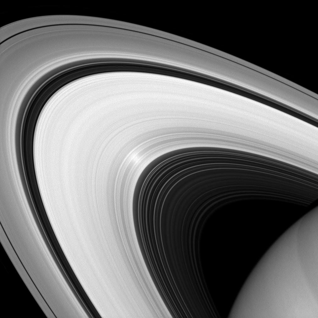 This image of Saturn's rings was taken by a camera on the Cassini spacecraft fitted with a filter that will admit only light polarized in one direction, and was released on Jan. 21, 2014. According to NASA, scientists can use these images to learn more about the nature of the particles that make up Saturn's rings.