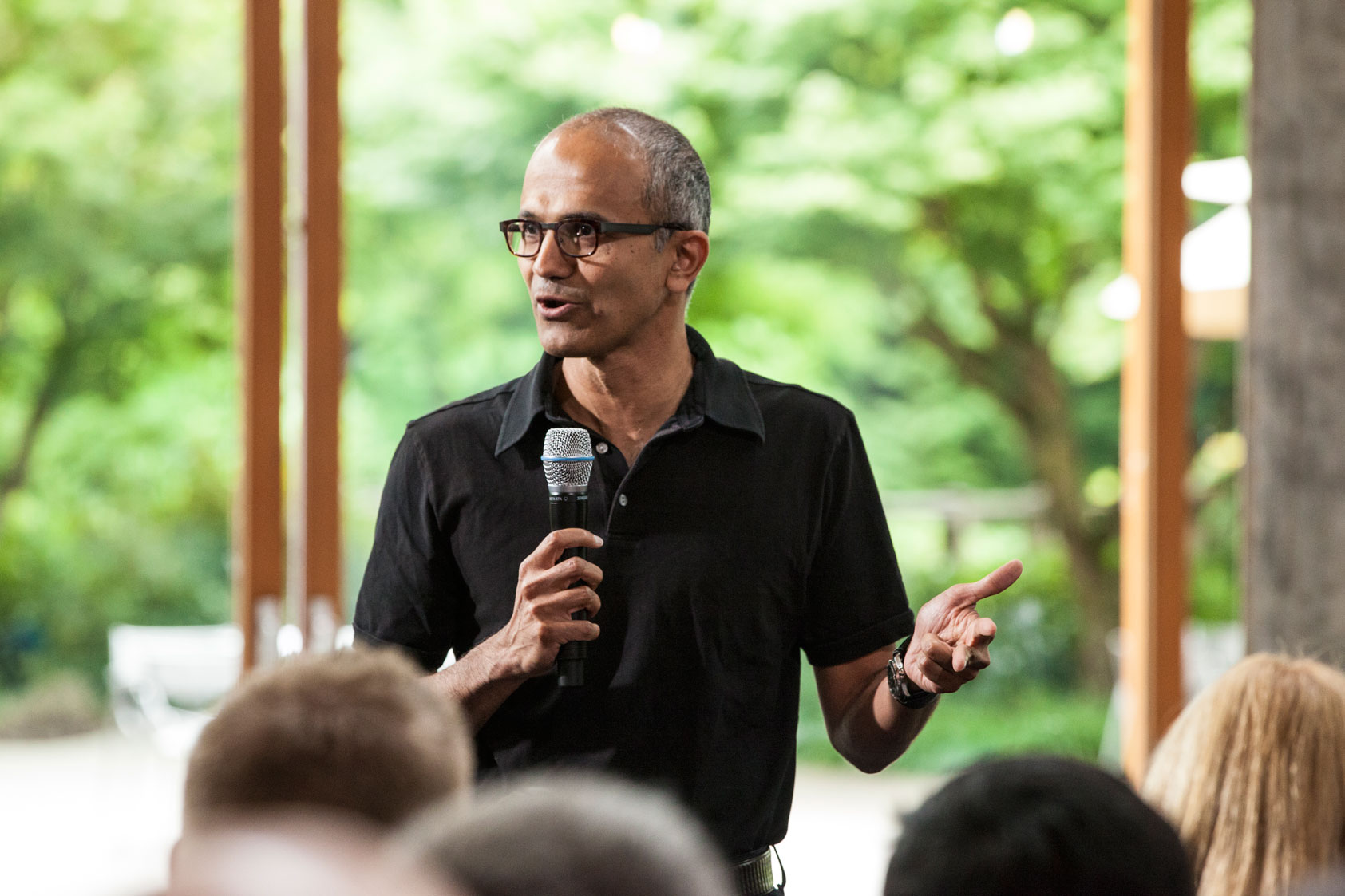 Satya Nadella, executive vice president, Cloud and Enterprise, addresses employees during the One Microsoft Town Hall event July 11, 2013.