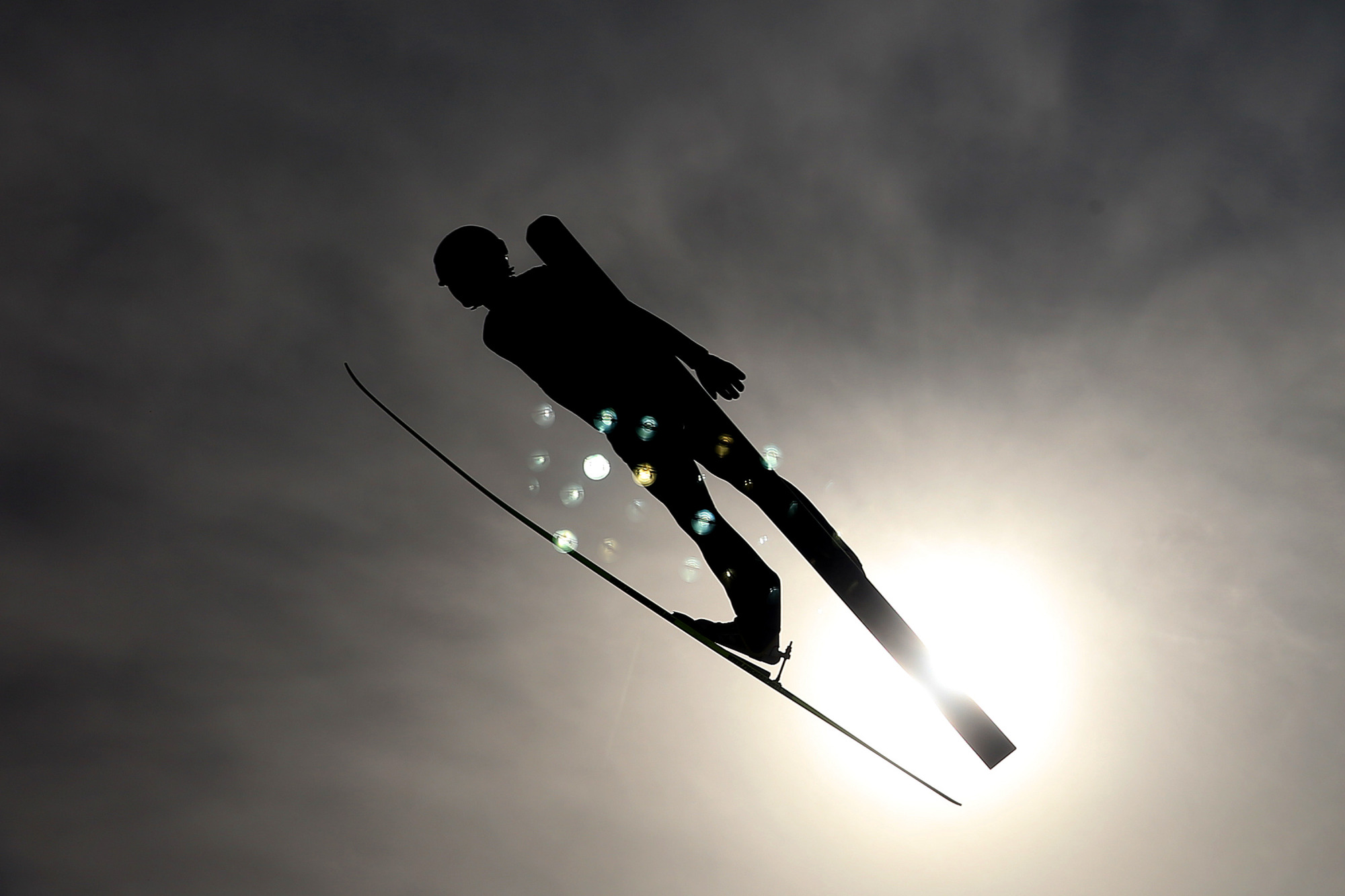 Yoshito Watabe of Japan competes in the Nordic Combined Men's Team LH.