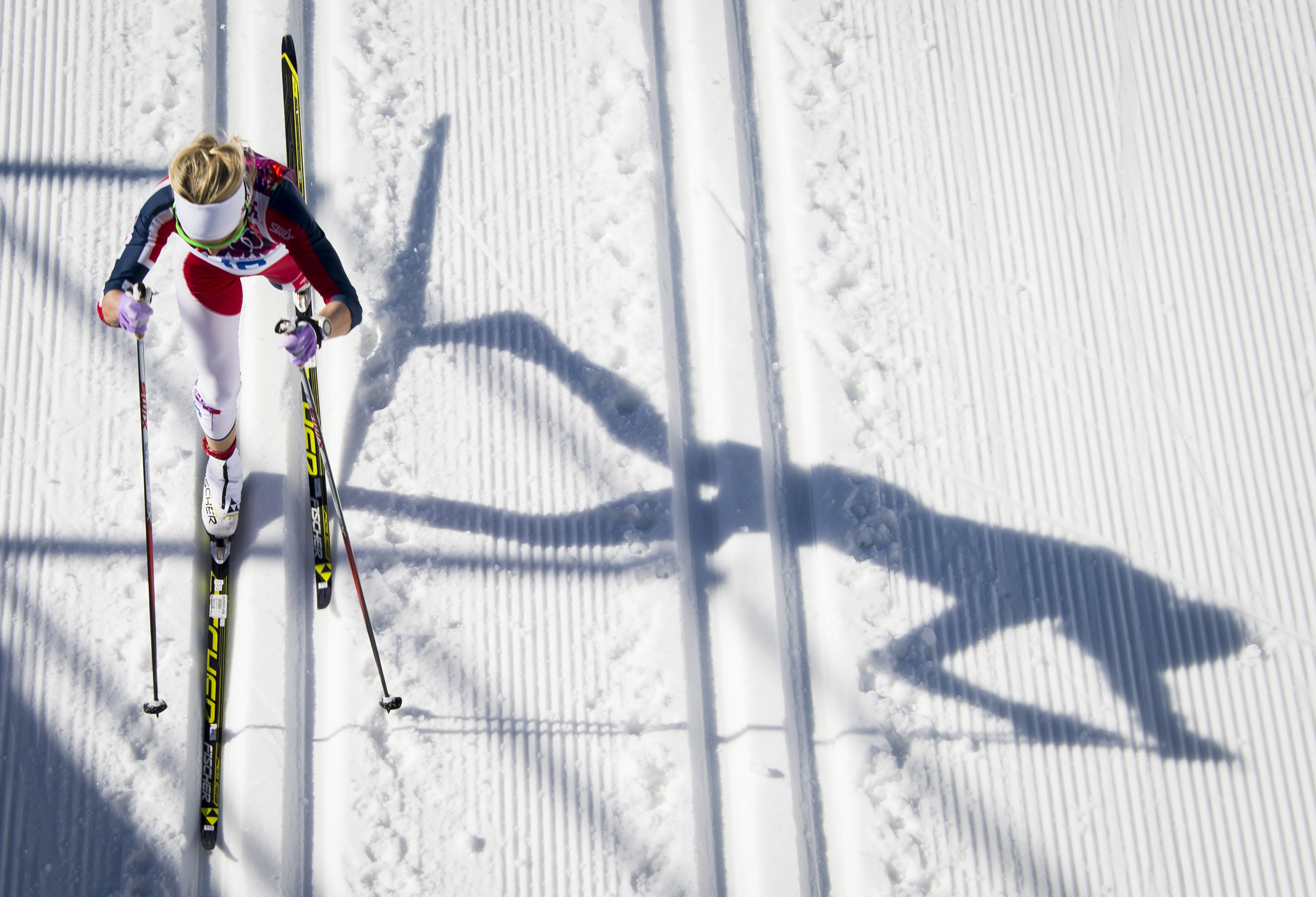 Norway's Therese Johaug competes to win bronze in the Women's Cross-Country Skiing 10km Classic during the Sochi Winter Olympics Feb. 13, 2014 in Rosa Khutor near Sochi.
