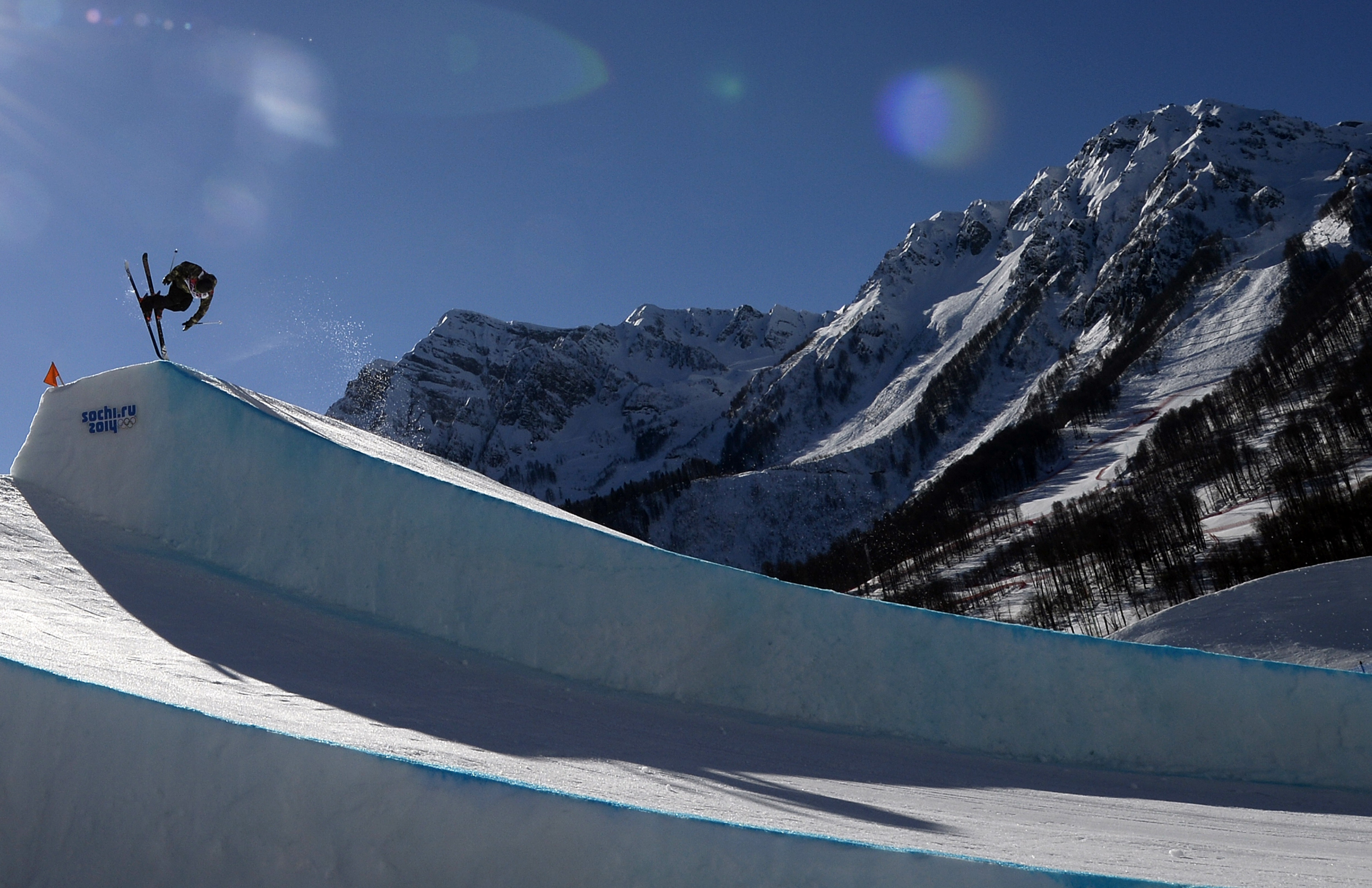 Switzerland's Kai Mahler competes in the Men's Freestyle Skiing Slopestyle qualifications.