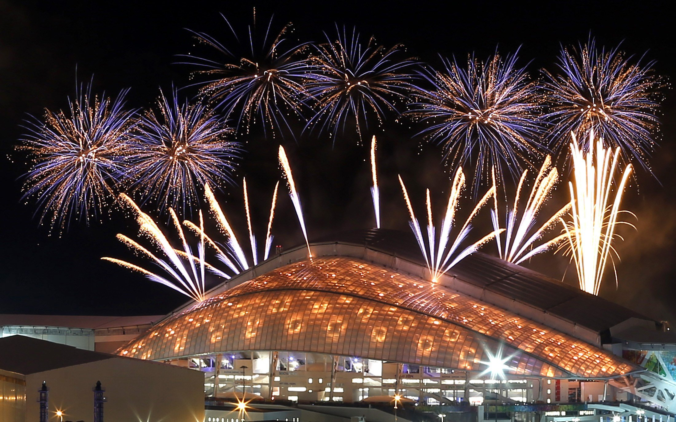 Fireworks over the Fisht Olympic Stadium at the Olympic Park during a rehearsal of the opening ceremony in Sochi, on Feb. 4, 2014.