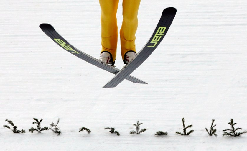 Finland's Mikke Leinonen lands during a men's nordic combined training session.