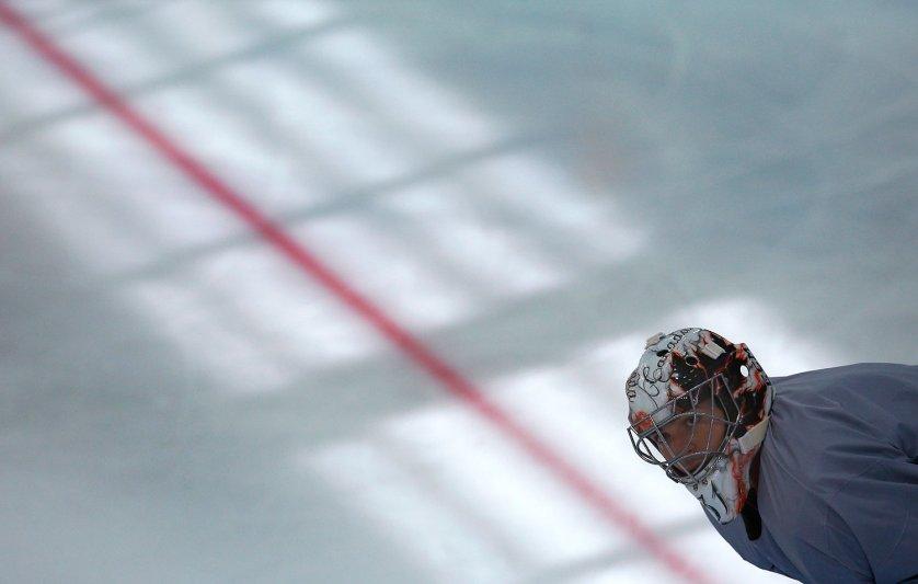 Canada's men's ice hockey team goalie Carey Price takes part in a team practice.