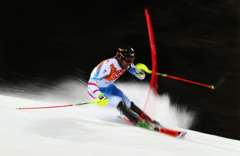 Mario Matt of Austria in action in the second run during the Men's Slalom.