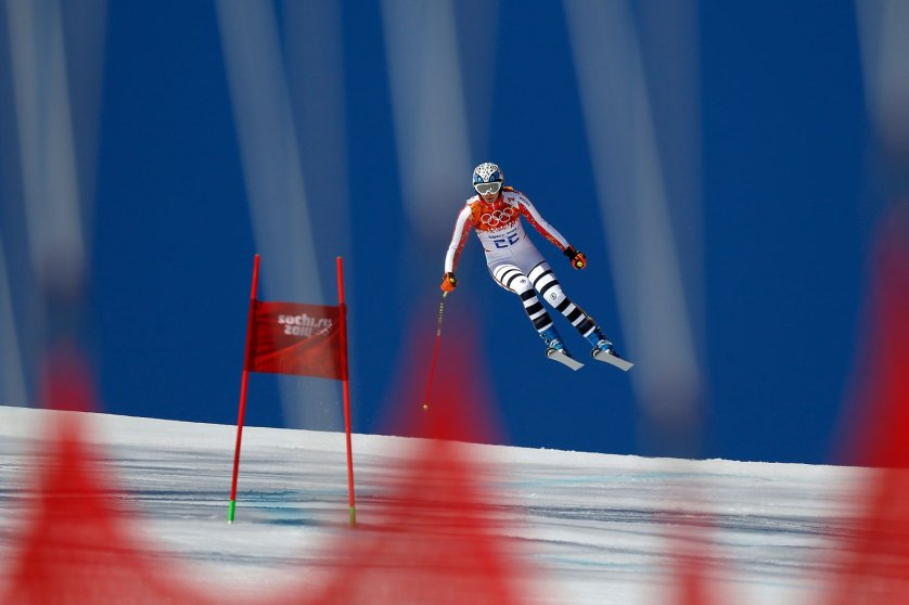 Maria Hoefl-Riesch of Germany competing in the Alpine Skiing Women's Super-G.