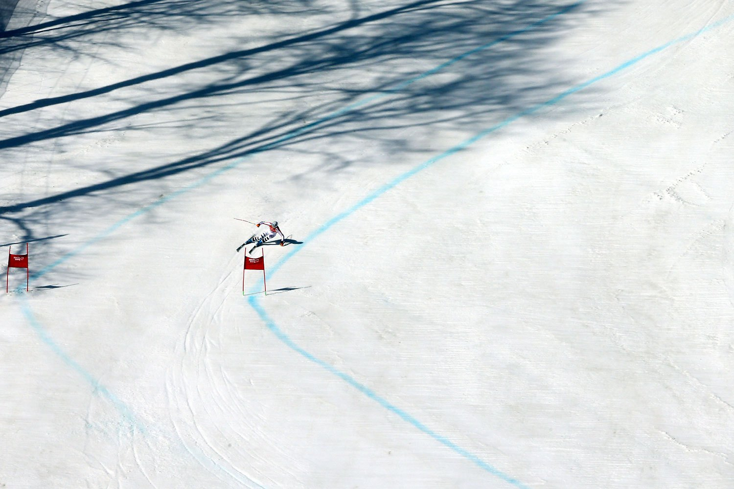 Maria Hoefl-Riesch of Germany on her silver medal winning run in the Alpine Skiing Women's Super-G.