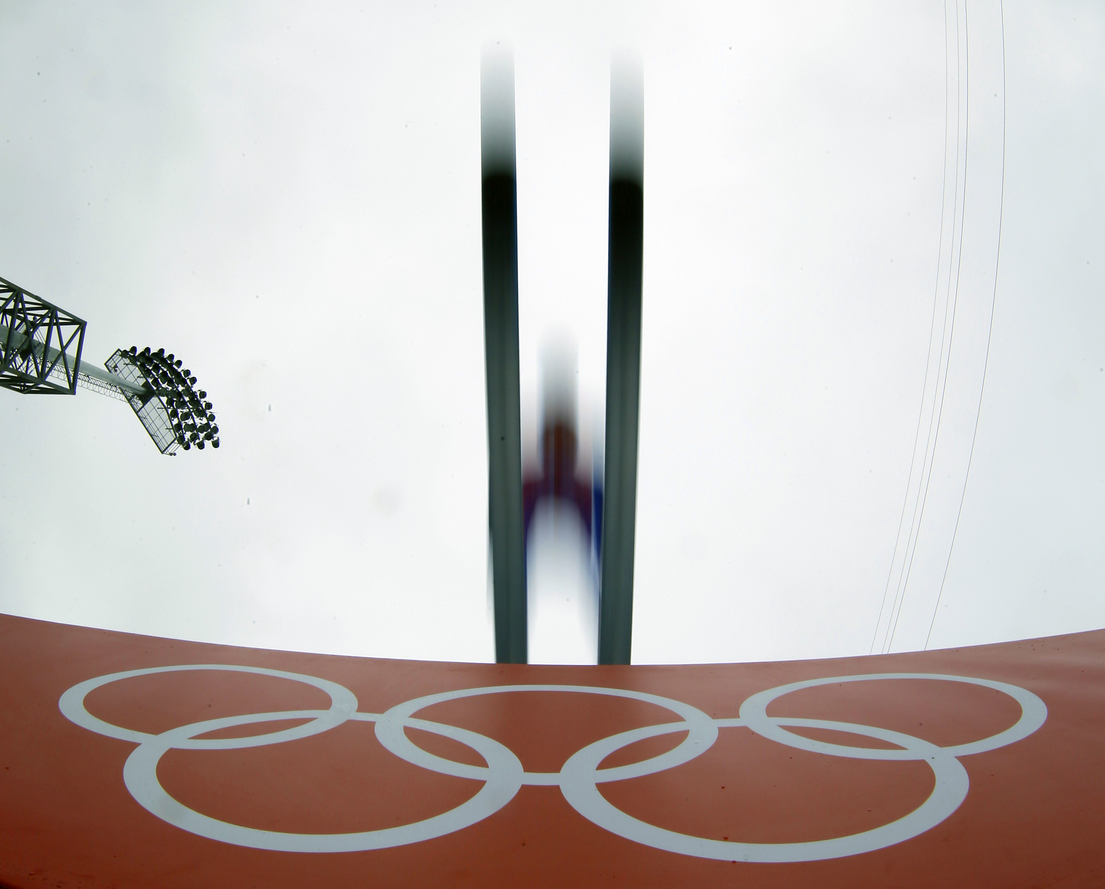 Austria's Wilhelm Denifl makes his jump during a Nordic combined, large hill, training session.