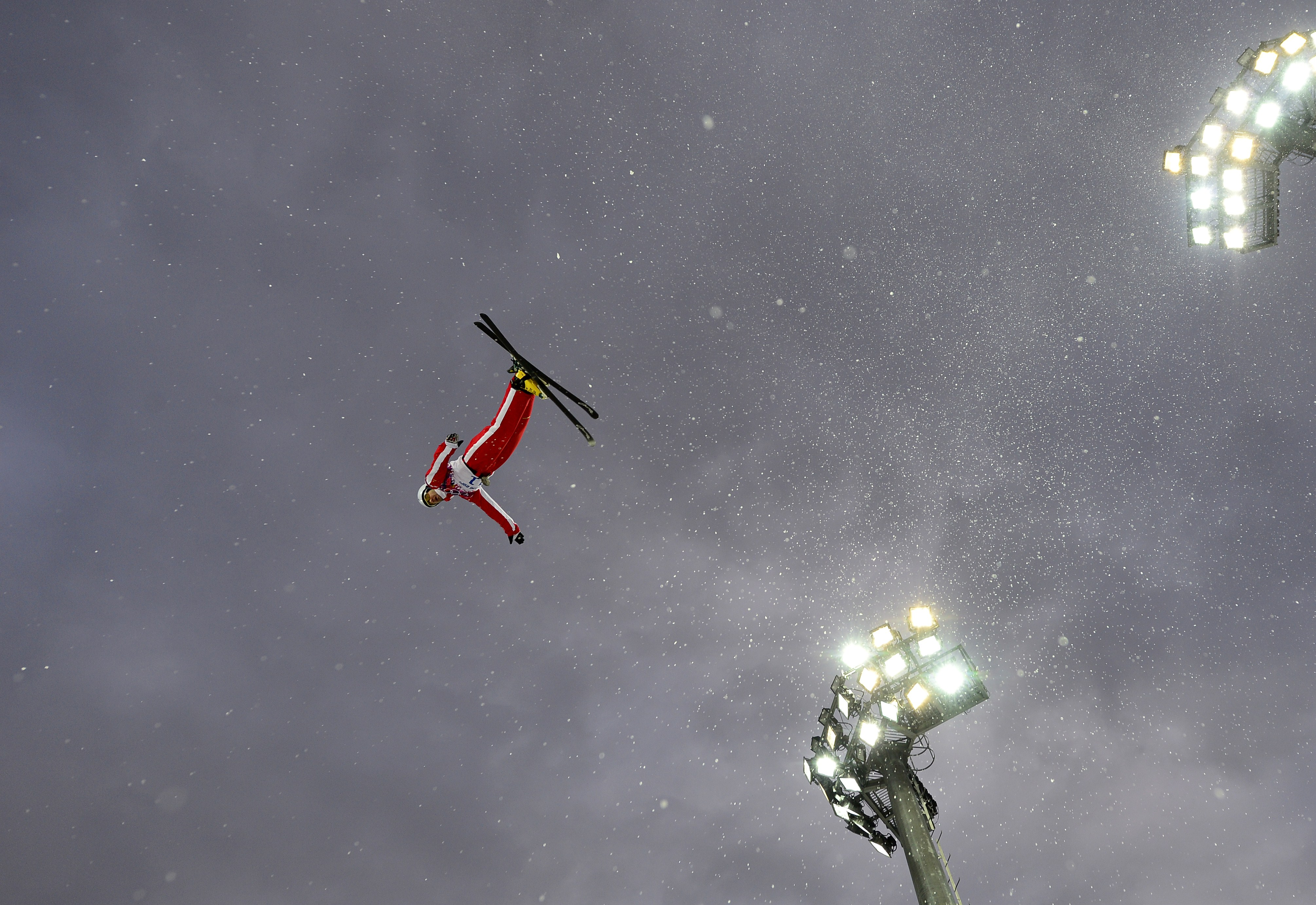 Switzerland's Renato Ulrich competes in the Men's Freestyle Skiing Aerials qualifications.