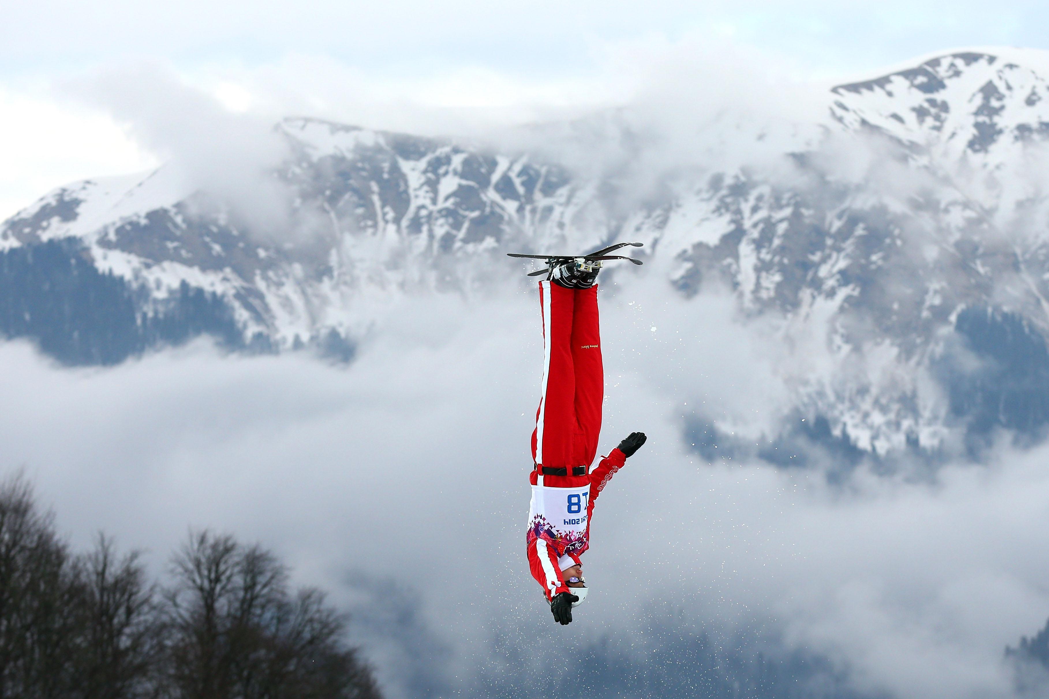 Thomas Lambert of Switzerland practices ahead of Freestyle Skiing Men's Aerials Qualification.