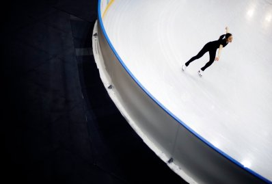 Yuna Kim of South Korea performs during the practice session at Iceberg Skating Palace.
