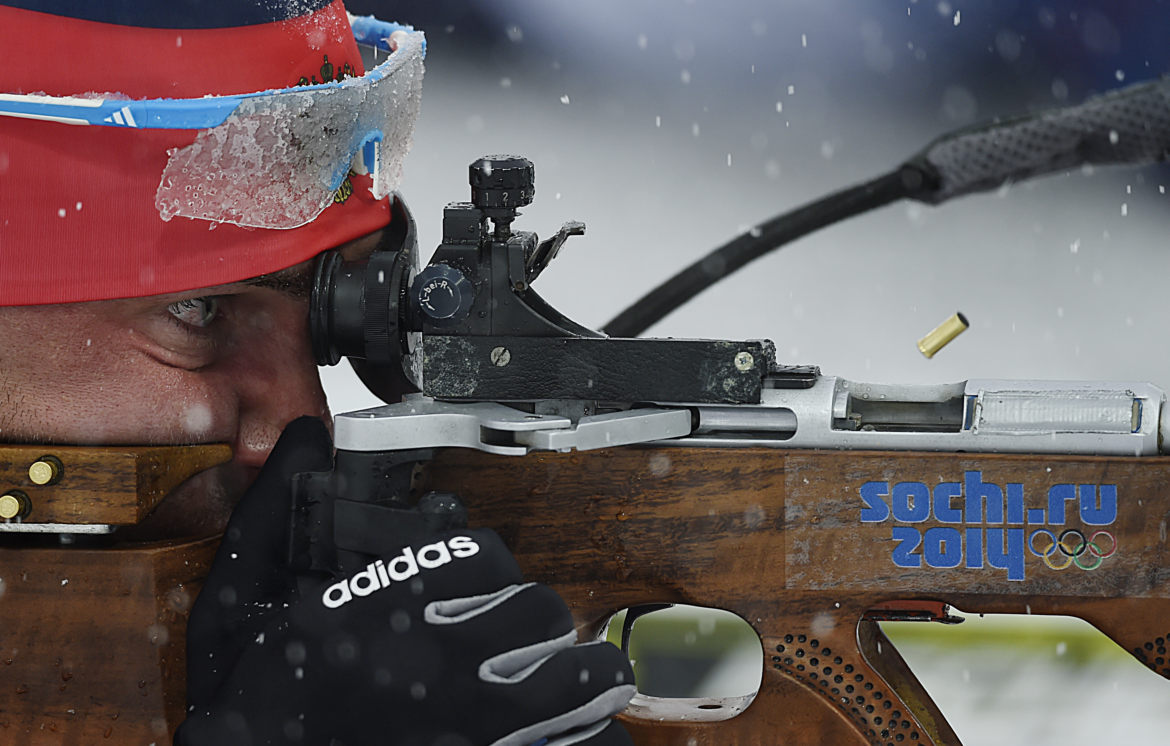 Evgeniy Garanichev of Russia in action during the men's 15km Mass Start competition at the Laura Cross Biathlon Center.