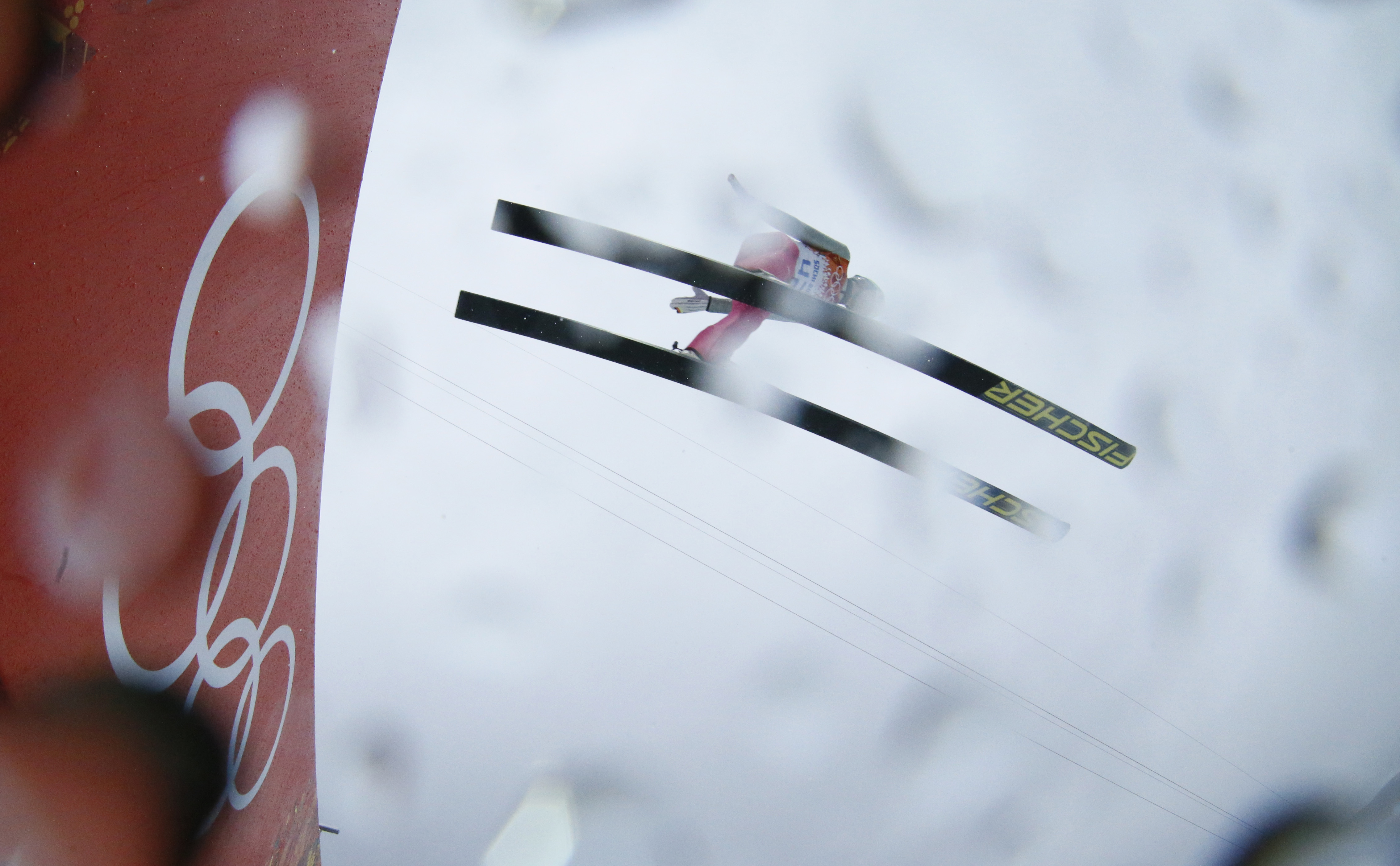 Germany's Johannes Rydzek makes his trial jump during the Nordic combined individual Gundersen large hill competition.