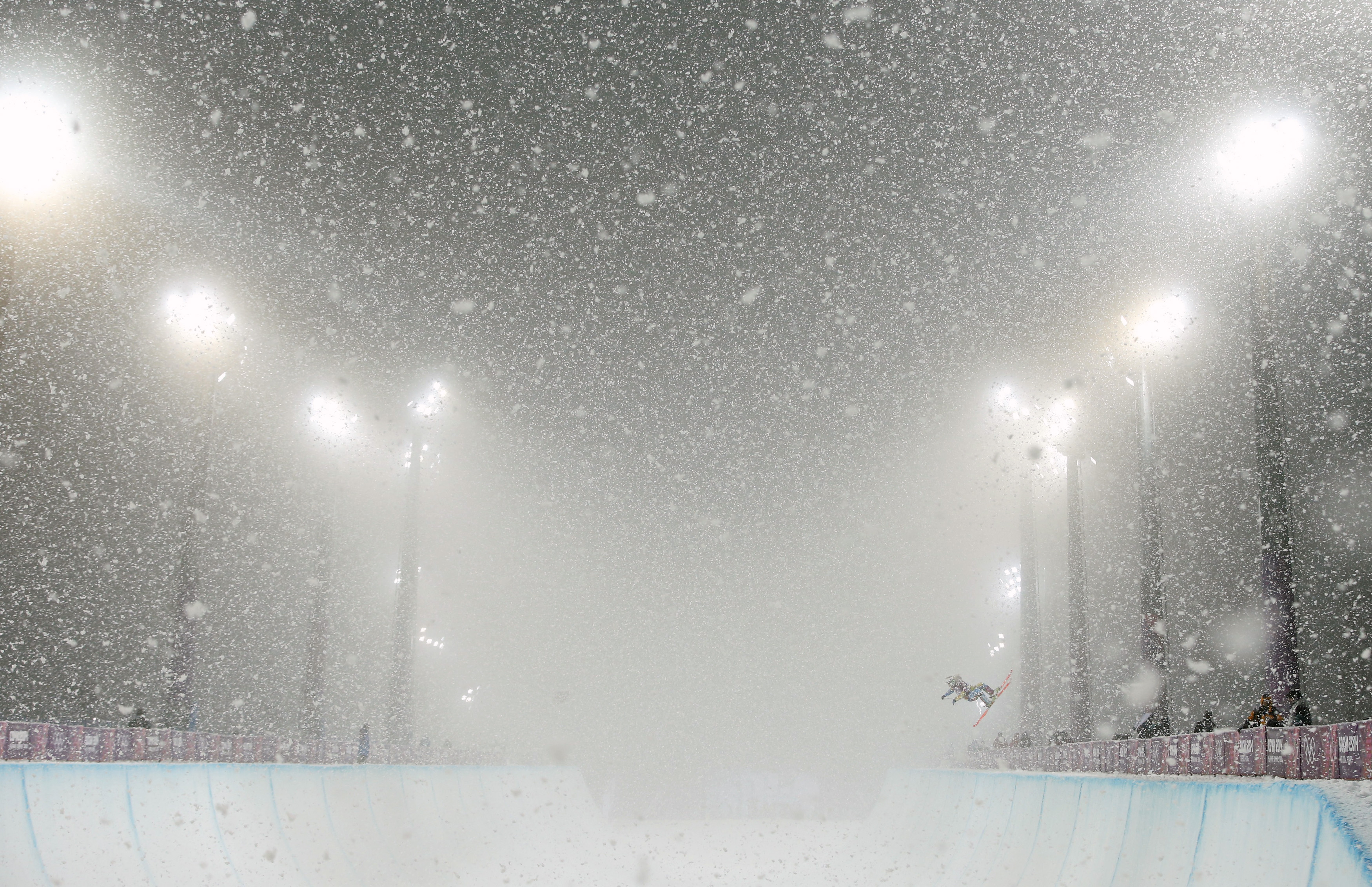 A skier competes during the men's freestyle skiing halfpipe finals.