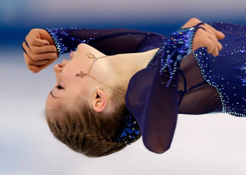 Julia Lipnitskaya of Russia competes in the women's short program figure skating competition at the Iceberg Skating Palace.
