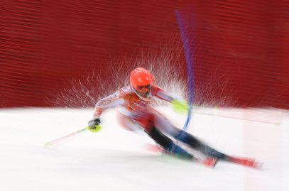 Marie-Michele Gagnon of Canada in action during the first run of the Women's Slalom race.