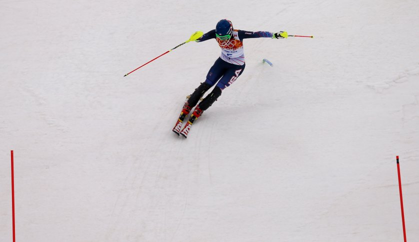 United States' Mikaela Shiffrin nears the finish in the first run of the women's slalom.