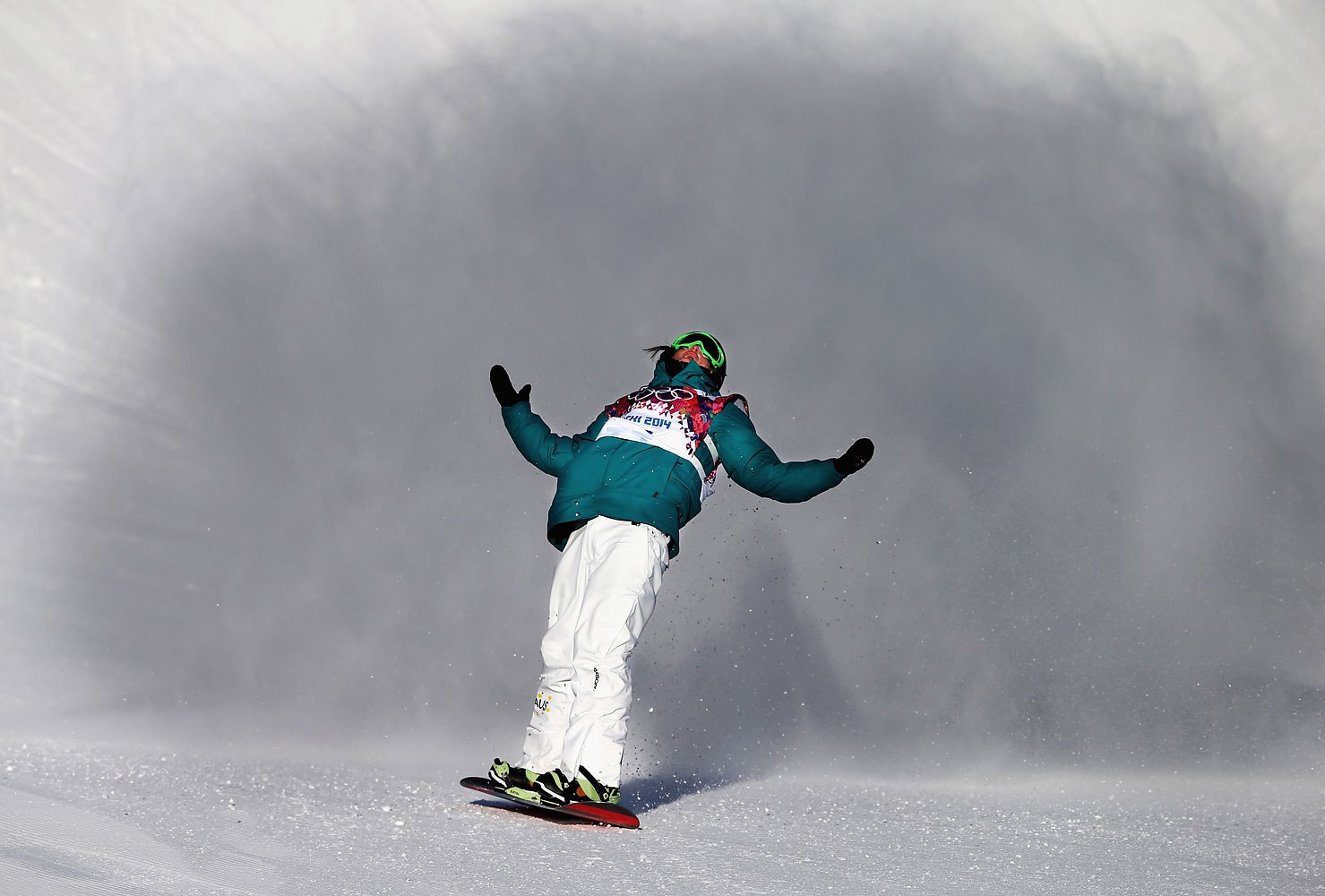 Scotty James of Australia reacts during the Snowboard Men's Slopestyle Semifinals during day 1 of the Sochi 2014 Winter Olympics at Rosa Khutor Extreme Park on Feb. 8, 2014