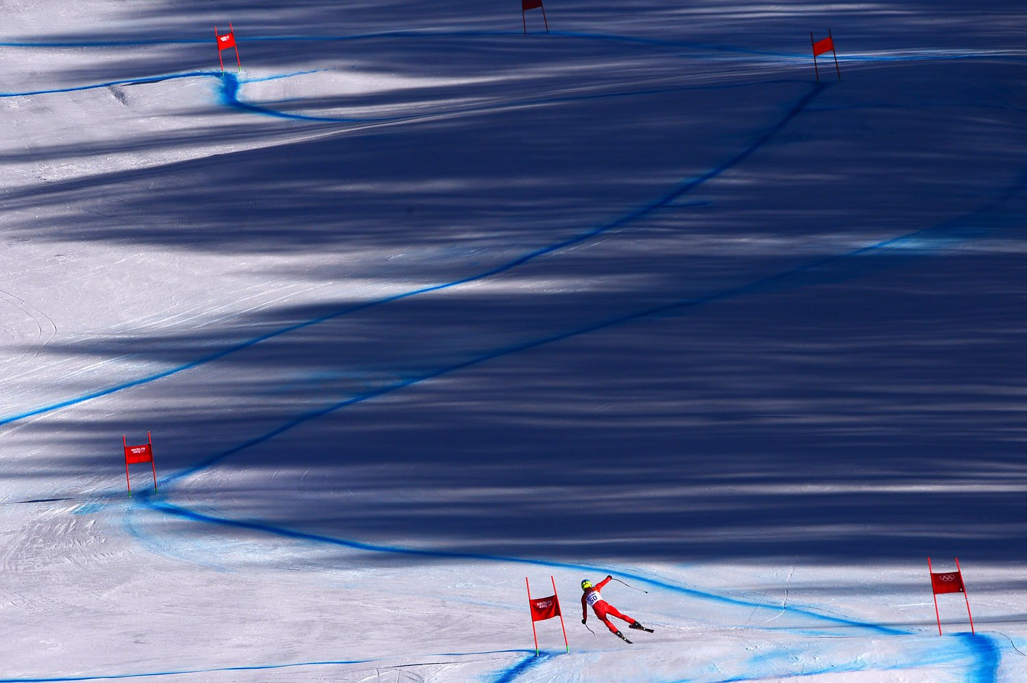 Denmark's Christoffer Faarup takes part in a Men's Alpine Skiing Downhill training session at the Rosa Khutor Alpine Center on Feb. 8, 2014