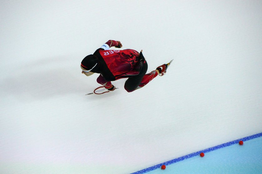 Germany's Patrick Beckert competes in the Men's Speed Skating 5000m at the Adler Arena on Feb. 8, 2014.