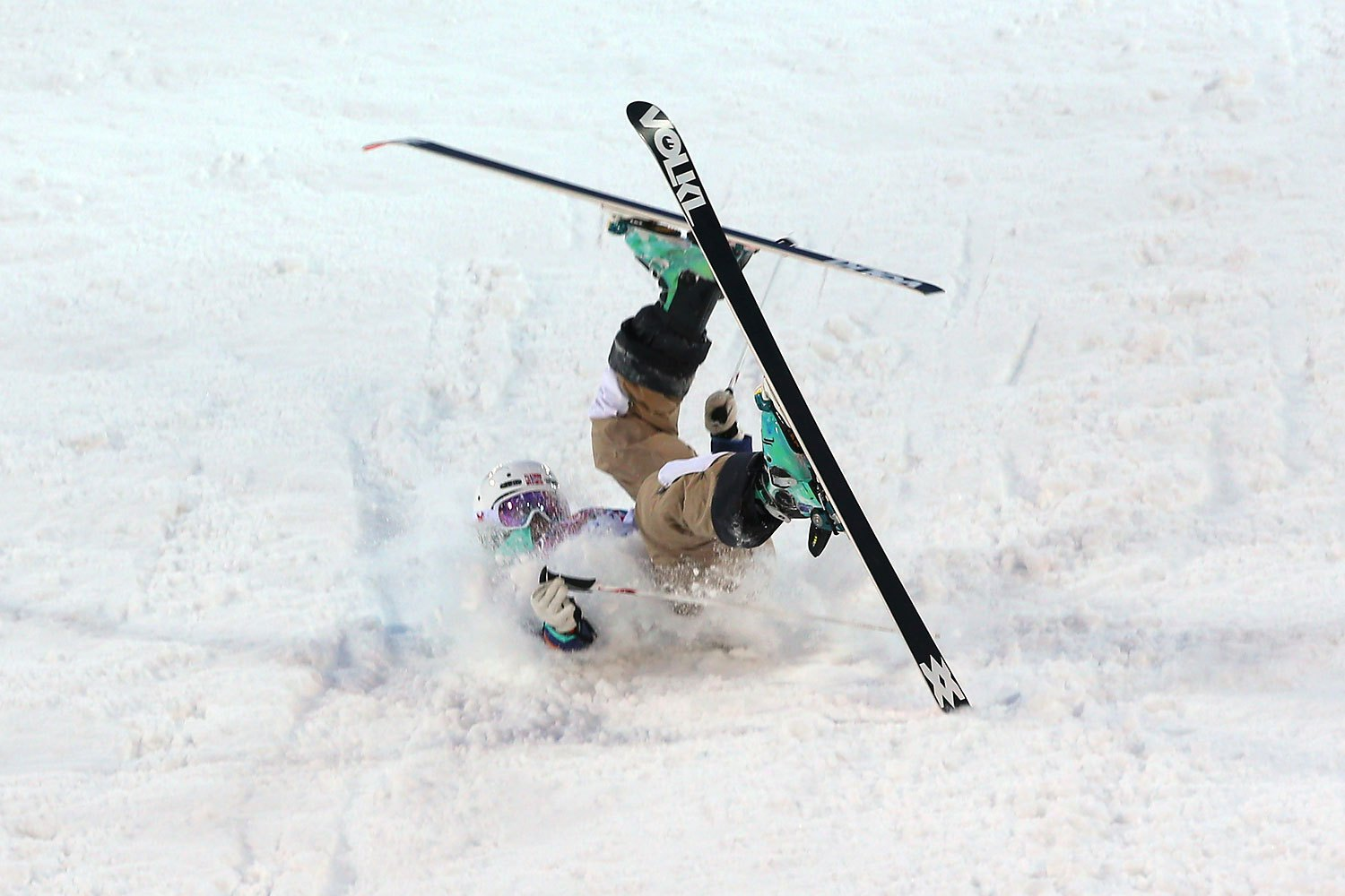 Hedvig Wessel of Norway crashes out in the Ladies' Moguls Qualification during day 1 of the Sochi 2014 Winter Olympics at Rosa Khutor Extreme Park on Feb. 8, 2014.