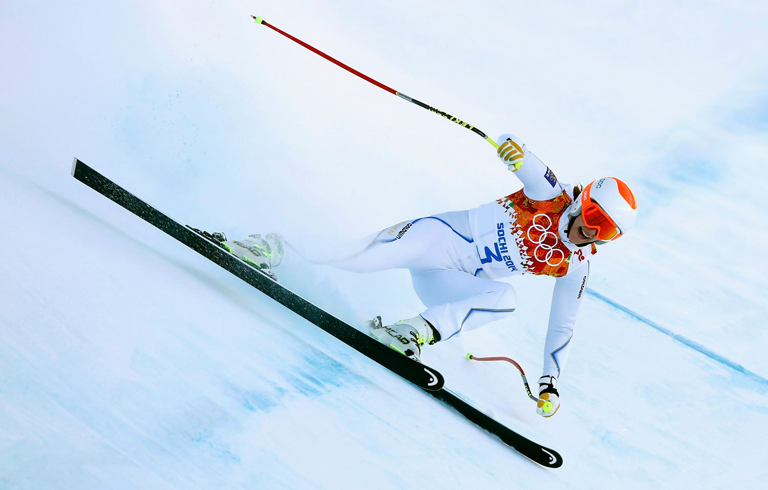 Sweden's Kajsa Kling speeds down the course in a training session for the women's alpine skiing downhill race during the 2014 Sochi Winter Olympics at the Rosa Khutor Alpine Center Feb. 8, 2014.