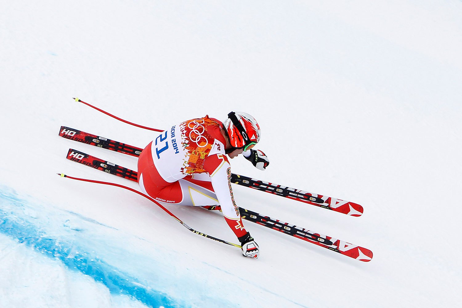 SOCHI, RUSSIA - FEBRUARY 09: (FRANCE OUT) Erik Guay of Canada competes during the Alpine Skiing Men's Downhill at the Sochi 2014 Winter Olympic Games at Rosa Khutor Alpine Centre on February 09, 2014 in Sochi, Russia. (Photo by Alexis Boichard/Agence Zoom/Getty Images)