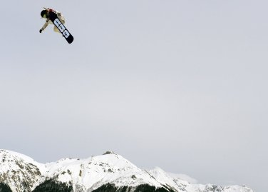 US Jamie Anderson competes in the Women's Snowboard Slopestyle Final at the Rosa Khutor Extreme Park on Feb. 9, 2014.